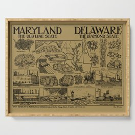 Vintage Maryland and Delaware Illustrative Map (1912) - Tan Serving Tray