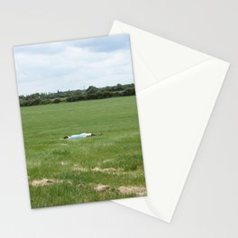 girl//lying//grass//field Stationery Cards
