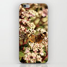 Buckeye Butterfly On Pale Pink Flowers iPhone Skin