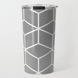 Light Grey and White - Geometric Textured Cube Design Travel Mug