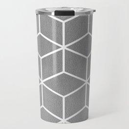 Light Grey and White - Geometric Textured Cube Design Travel Mug