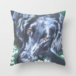 Flat Coated Retriever Dog Portrait Art from an original painting by L.A.Shepard Throw Pillow