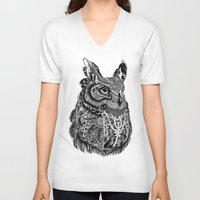 owl V-neck T-shirts featuring Owl by Feline Zegers