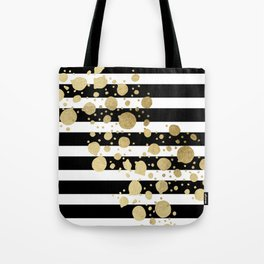 Faux Gold Paint Splatter on Black & White Stripes Tote Bag