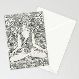 lotus garden vintage black Stationery Cards