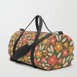 groovy flowers_red and orange on dark green Duffle Bag
