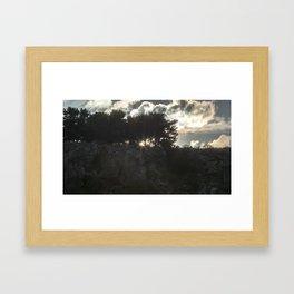 Cloudy sunset in Sicily Framed Art Print