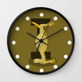 Pony Monogram Letter I Wall Clock