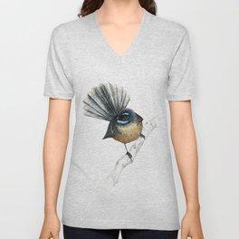 Mr Pīwakawaka, New Zealand native bird fantail Unisex V-Neck