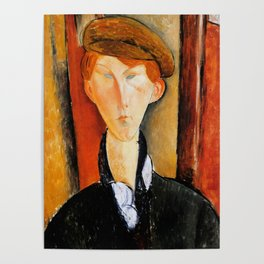 """Amedeo Modigliani """"Young Man with Cap"""" Poster"""