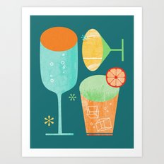 Pour & Drink (Blue) Kitchen or Bar Art Art Print