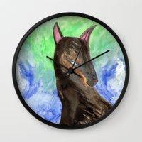doberman Wall Clocks featuring Doberman by gunberk