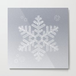 Typographic Snowflake Greetings - Silver Grey Metal Print