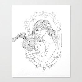 Rabbit Heart-Line Drawing Canvas Print