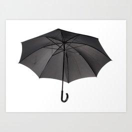 black umbrella with curved handle Art Print