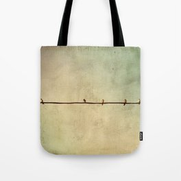Sparrows on Wire Tote Bag