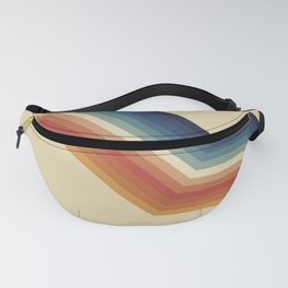 Funky Colorful 70s Rainbow Striped Zig Zag Pattern Blue Orange Hues Fanny Pack