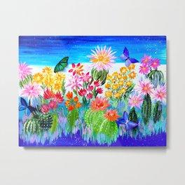 Succulent Garden with Butterflies Metal Print