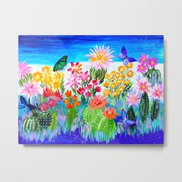 Succulent Garden with Butterflies Metal Print