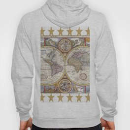 Vintage Map with Stars Hoody