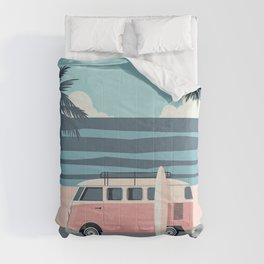 Surfer Graphic Beach Palm-Tree Camper-Van Art Comforters