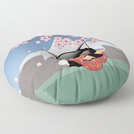 Japanese Kitsune Kokeshi Doll Floor Pillow