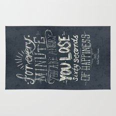 For every minute you are angry you lose sixty seconds of happiness  Rug