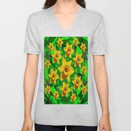 Decorative Bed of Yellow Daffodils Pattern Art Unisex V-Neck