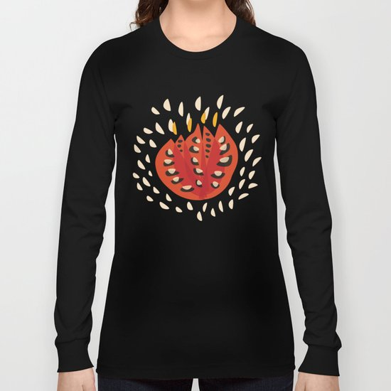 Red Abstract Tulip Long Sleeve T-shirt