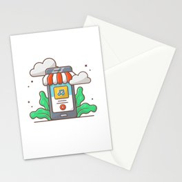 Online music store. mobile music shop with note Stationery Cards