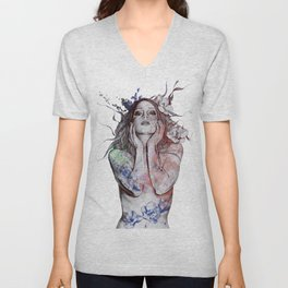 The Withering Spring: Wine (nude tattooed girl with flowers) Unisex V-Neck