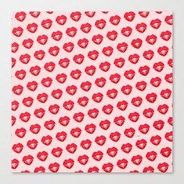 Kisses heart (background light pink) Canvas Print