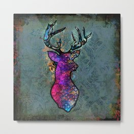 Gorgeous Deer Stag Illustration Metal Print