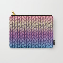 Rainbow Gradient Chunky Knit Pattern Carry-All Pouch
