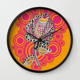 Madhubani - Fish Flower 2 Wall Clock