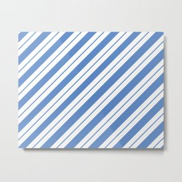 White Bands on Blue Metal Print