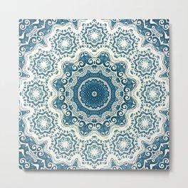 Creamy and blue mandala pattern Metal Print