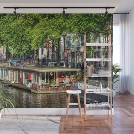 Amsterdam Houseboat on Canal Wall Mural