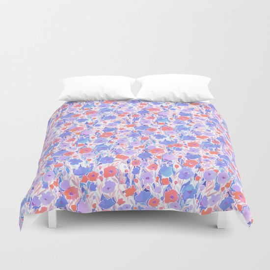 Flower Field Apricot Lilac Duvet Cover