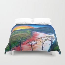 Brisbane River and Mt Crosby at Sunset Duvet Cover
