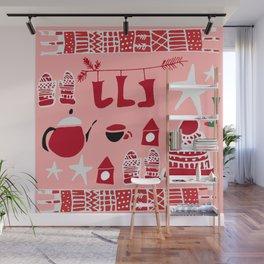 winter gear pink Wall Mural