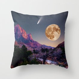 zion national park full moon and comet Throw Pillow