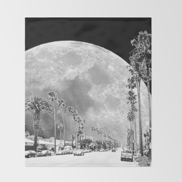California Dream // Moon Black and White Palm Tree Fantasy Art Print Throw Blanket