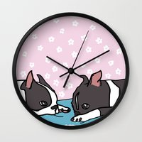boston terrier Wall Clocks featuring Boston Terrier by Costanza Reda