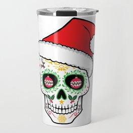 Mexican Sugar Skull Art Santa Holiday T-Shirt Travel Mug