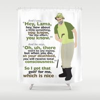 lama Shower Curtains featuring Carl Spackler and the Lama by Greg Koenig