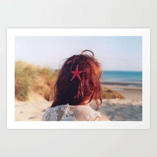 seaside girl Art Print