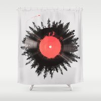 running Shower Curtains featuring The vinyl of my life by Robert Farkas