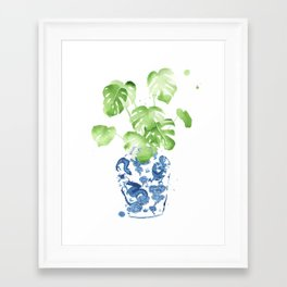 Ginger Jar + Monstera Framed Art Print