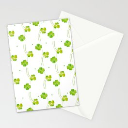 green clover leaf pattern watercolor Stationery Cards